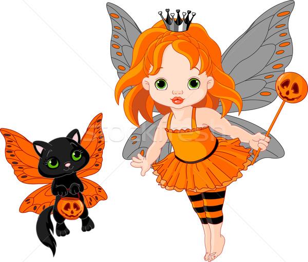 Cute halloween bébé fée chat illustration Photo stock © Dazdraperma