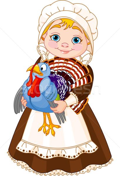 Pelgrim dame Turkije illustratie cute meisje Stockfoto © Dazdraperma