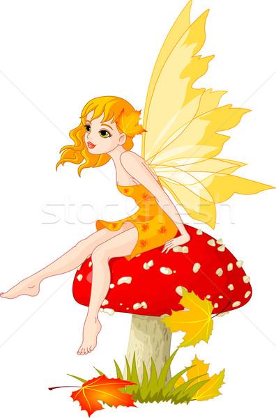Stockfoto: Najaar · fairy · champignon · elf · vergadering · meisje