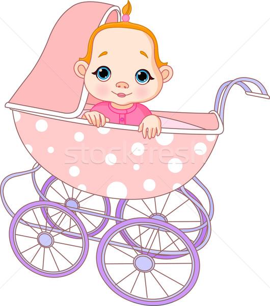 キャリッジ かわいい 座って 赤ちゃん 歳の誕生日 ストックフォト © Dazdraperma