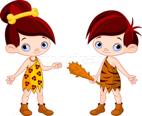 Cave boy and cave girl   Stock photo © Dazdraperma