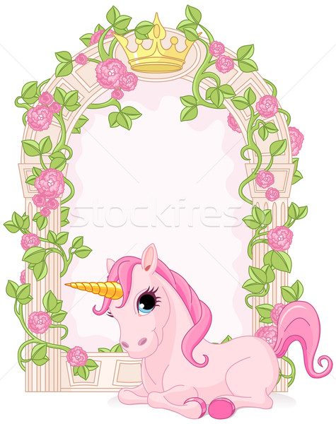 Fairy tale frame with unicorn Stock photo © Dazdraperma