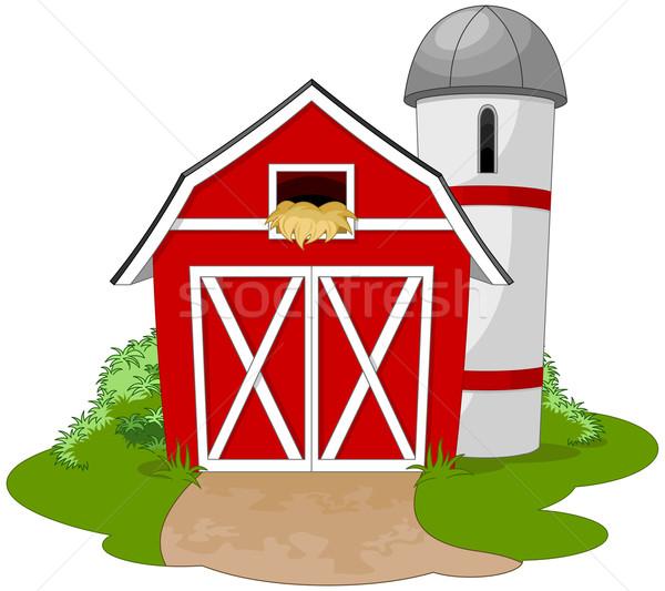 Boerderij illustratie gras home kaart dak Stockfoto © Dazdraperma