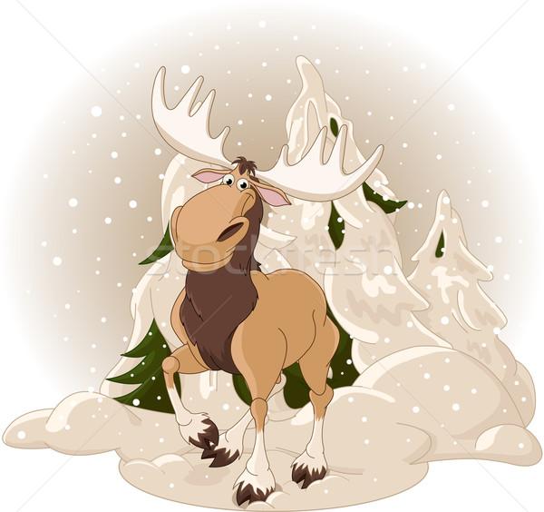 Kanada geyiği orman doğru kış dizayn doku Stok fotoğraf © Dazdraperma