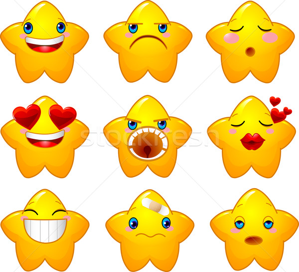 Set of smileys stars Stock photo © Dazdraperma
