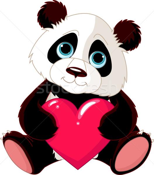 Sevimli panda kalp valentine sevmek Stok fotoğraf © Dazdraperma