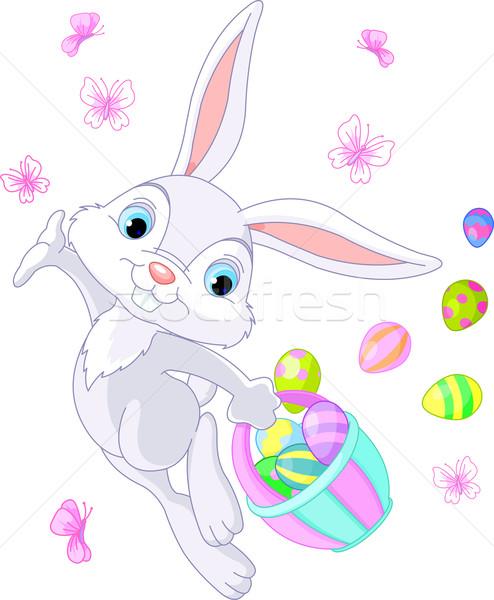 Húsvéti nyuszi rejtőzködik tojások illusztráció Stock fotó © Dazdraperma