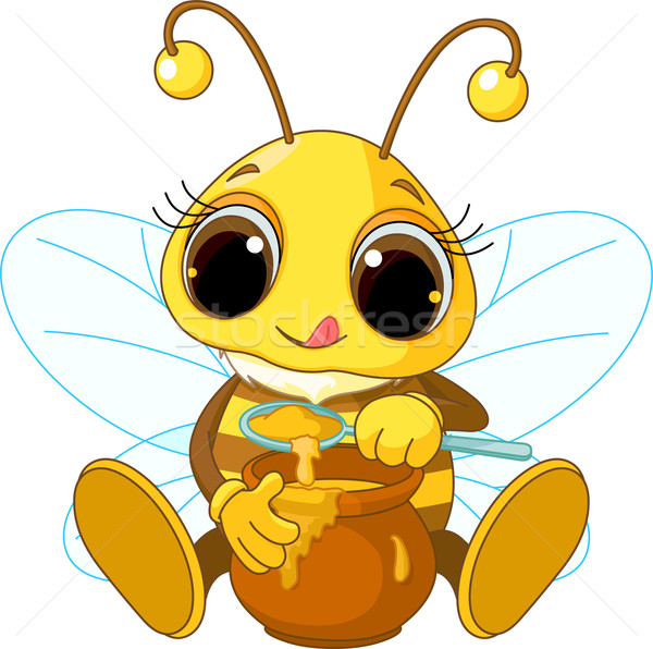 Cute abeille manger miel illustration alimentaire Photo stock © Dazdraperma