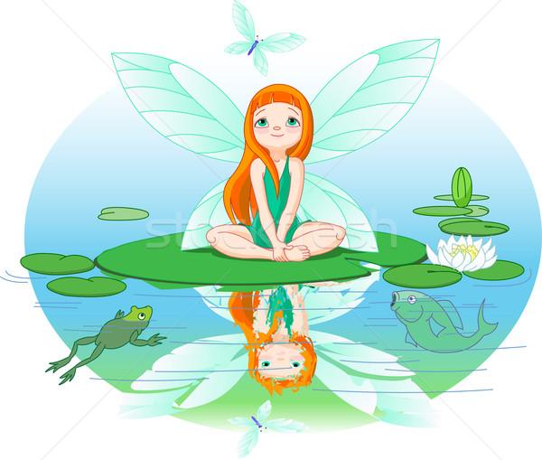 Fairy observes for flying butterfly Stock photo © Dazdraperma