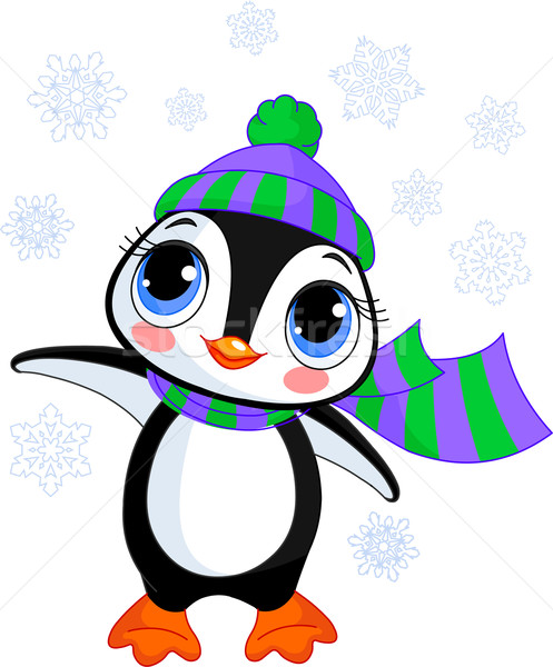 Cute winter pinguin hoed sjaal illustratie Stockfoto © Dazdraperma