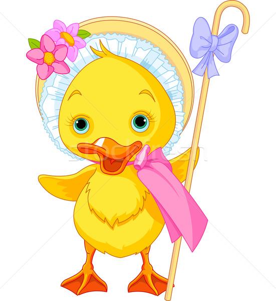Húsvét kiskacsa személyzet illusztráció művészet madár Stock fotó © Dazdraperma