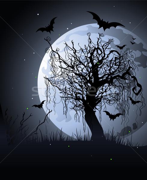 Arrepiante árvore noite halloween fundo silhueta Foto stock © Dazdraperma