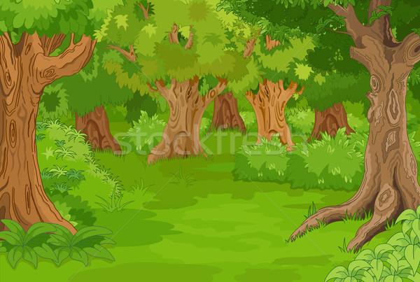 Bos glade illustratie verbazingwekkend boom landschap Stockfoto © Dazdraperma
