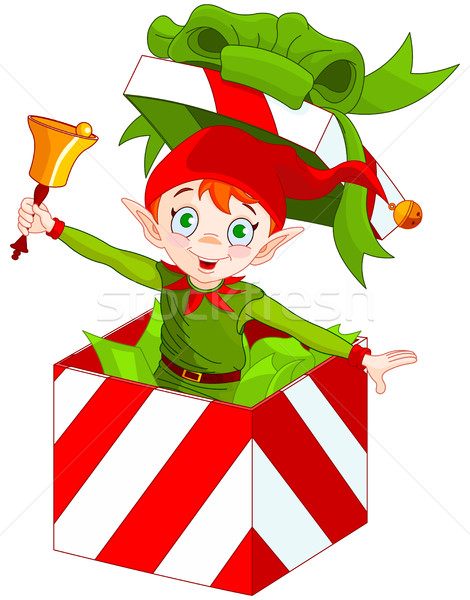 Elf Popping out of a Christmas Box  Stock photo © Dazdraperma