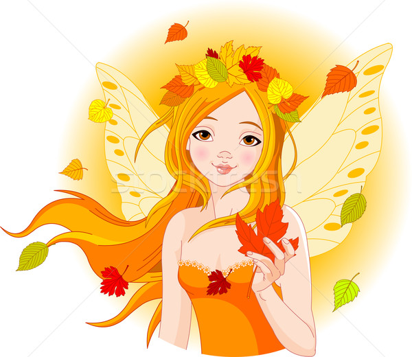 Autumn fairy with leaf Stock photo © Dazdraperma