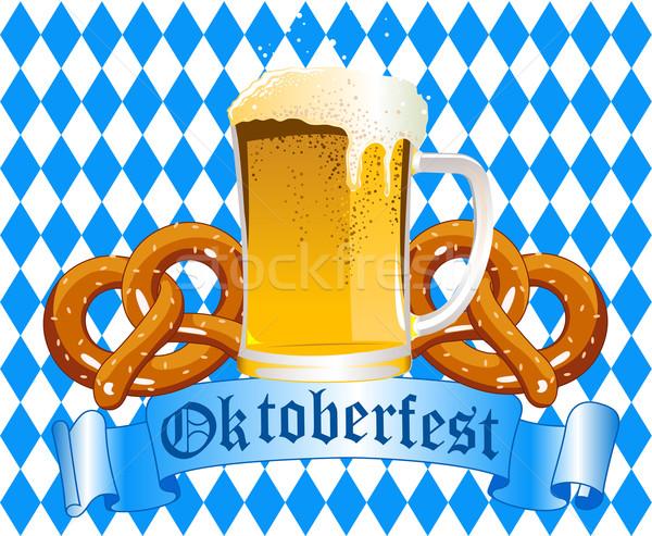 Oktoberfest ünneplés sör perec üveg művészet Stock fotó © Dazdraperma