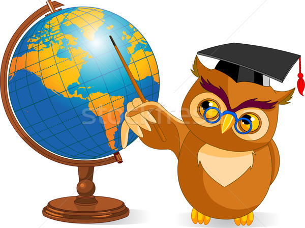 Cartoon wijs uil wereld wereldbol illustratie Stockfoto © Dazdraperma