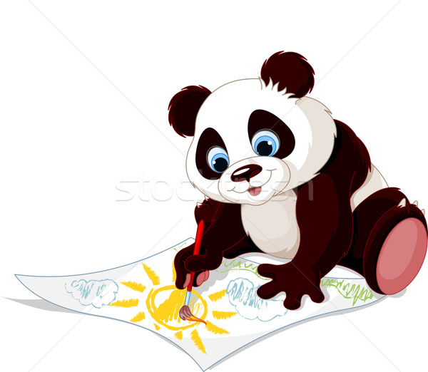 Cute panda drawing picture Stock photo © Dazdraperma