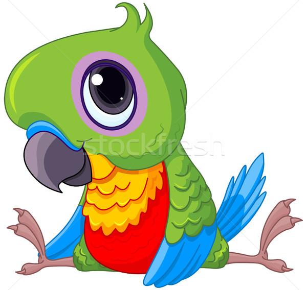 Cute baby papegaai illustratie ogen natuur Stockfoto © Dazdraperma