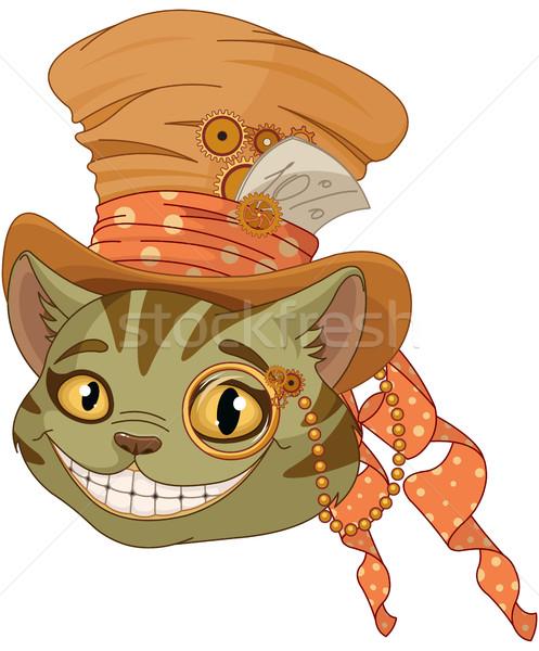 Steampunk kedi üst şapka gülümseme kitap Stok fotoğraf © Dazdraperma