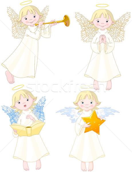 Angyalok szett illusztráció aranyos zene angyal Stock fotó © Dazdraperma