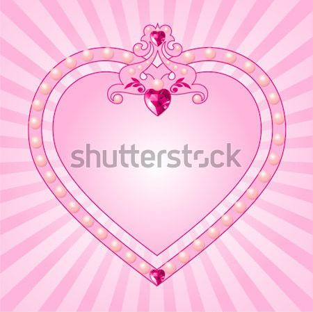 Crystal heart with crown on radial background Stock photo © Dazdraperma
