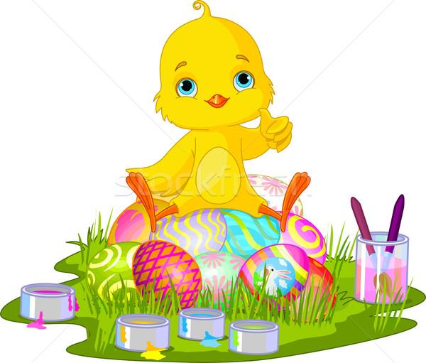 Stockfoto: Pasen · chick · cute · pasgeboren · vergadering · paaseieren