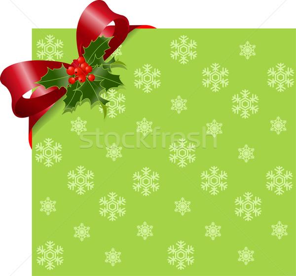 Christmas groene pagina hoek boeg Stockfoto © Dazdraperma