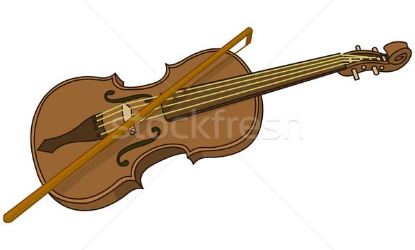 Viool boeg illustratie cartoon muziek lichaam Stockfoto © Dazdraperma