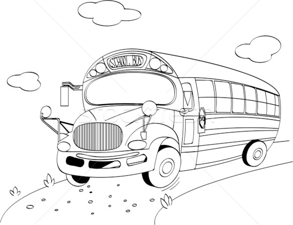 School Bus coloring page vector illustration © Anna Velichkovsky ...