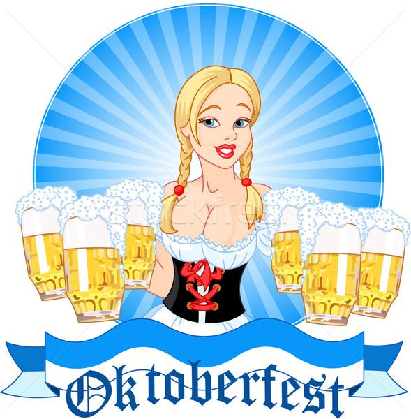 Oktoberfest girl serving beer Stock photo © Dazdraperma