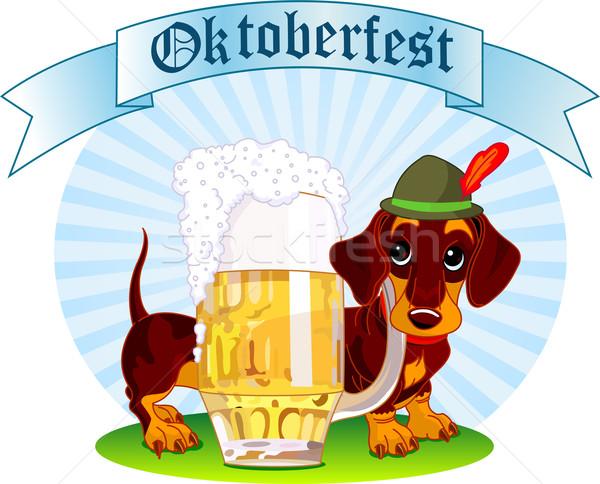 Октоберфест собака иллюстрация колбаса пинта пива Сток-фото © Dazdraperma