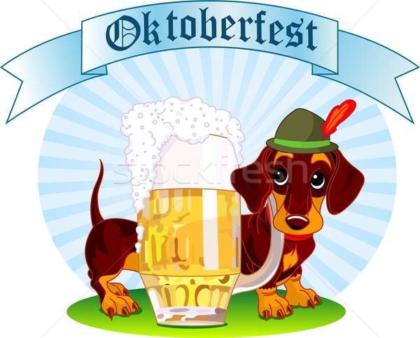 Oktoberfest chien illustration saucisse pinte bière Photo stock © Dazdraperma