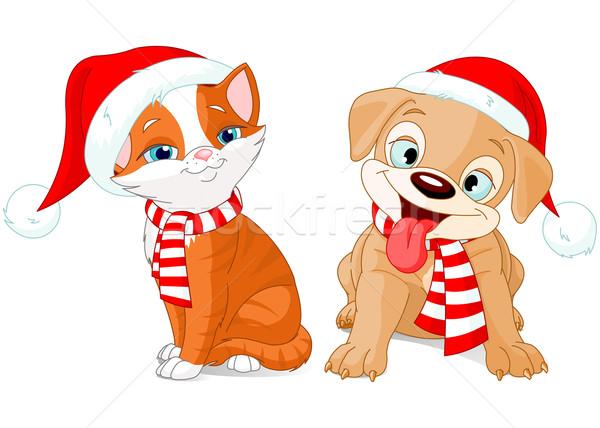 Рождества щенков котенка иллюстрация вечеринка кошки Сток-фото © Dazdraperma
