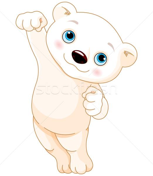 Stockfoto: Ijsbeer · springen · gelukkig · cartoon · glimlachend · dier