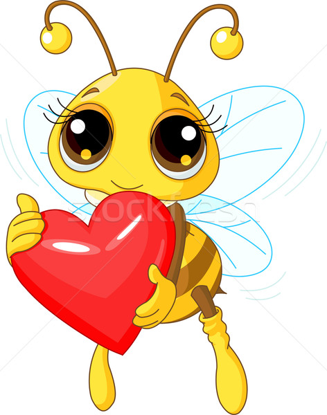 Cute Bee holding Love heart Stock photo © Dazdraperma