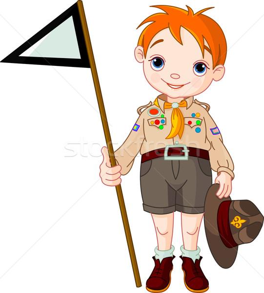 Boy scout  holding a flag Stock photo © Dazdraperma