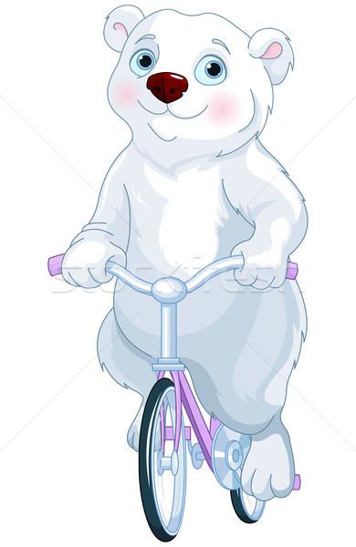 Urso polar equitação bicicleta bonitinho natureza arte Foto stock © Dazdraperma