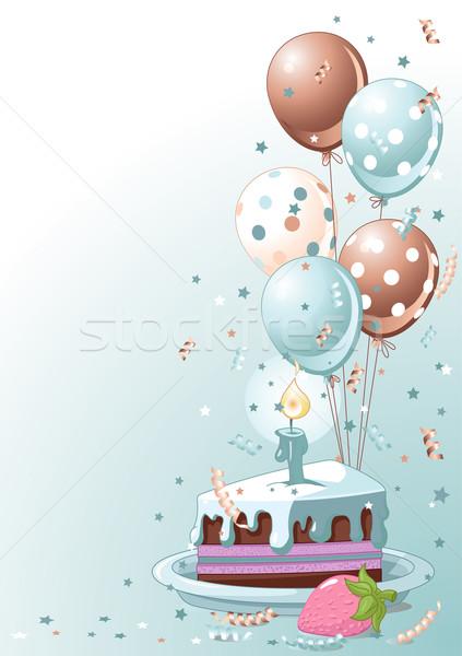 Сток-фото: ломтик · именинный · торт · шаров · clipart · конфетти · торт