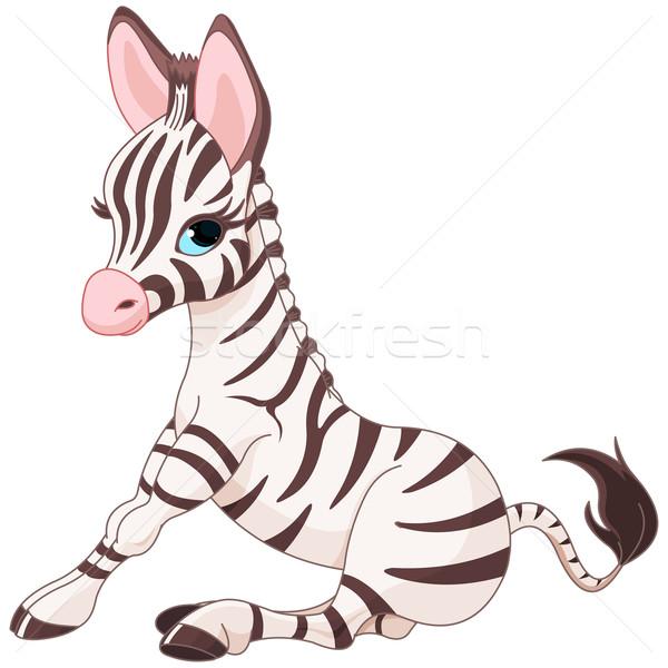 Zebra tay örnek mutlu kart beyaz Stok fotoğraf © Dazdraperma
