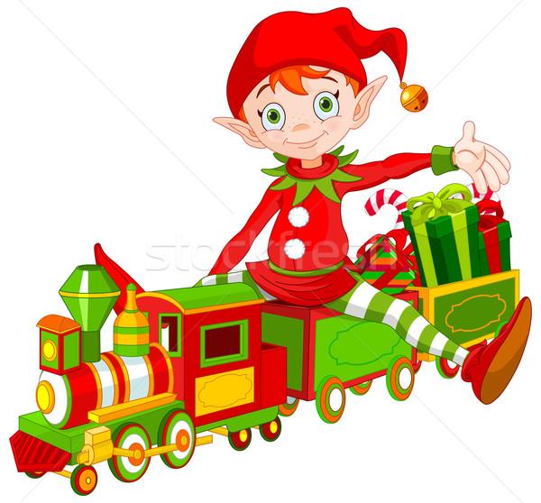 Stock fotó: Karácsony · manó · játék · vonat · illusztráció · aranyos