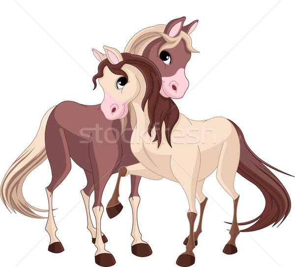 Kettő lovak pár gyönyörű tele szeretet Stock fotó © Dazdraperma
