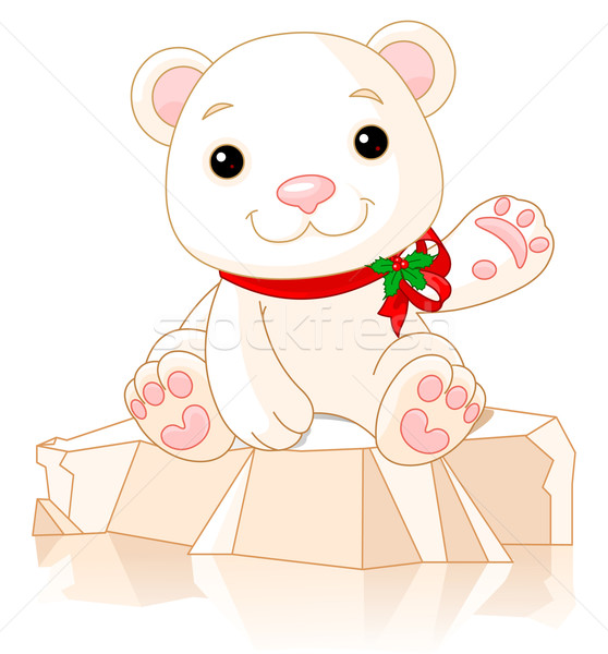 Christmas ijsbeer cute welp ijs winter Stockfoto © Dazdraperma