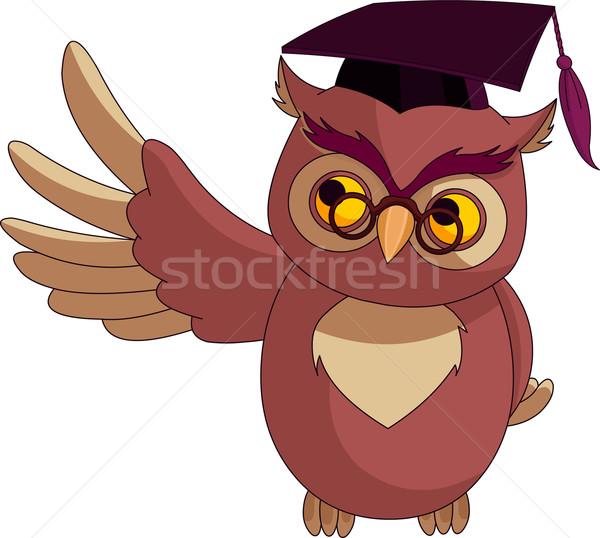 Karikatür bilge baykuş mezuniyet kapak örnek Stok fotoğraf © Dazdraperma