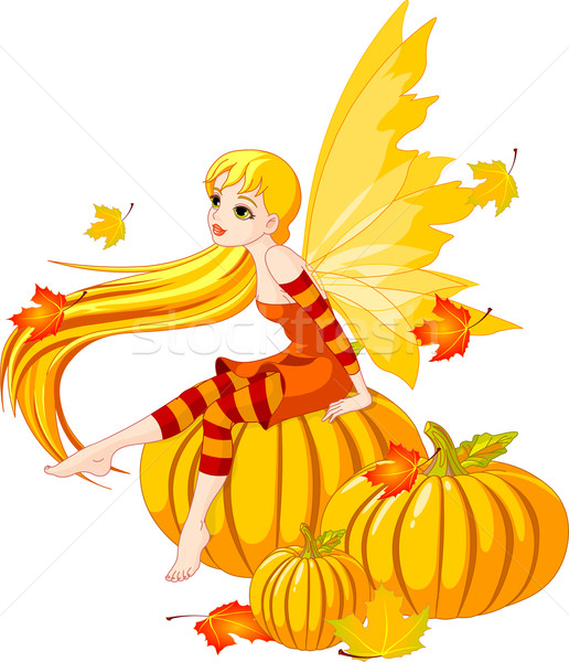 Autumn Fairy on the Pumpkin Stock photo © Dazdraperma