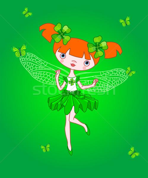 Klaver fairy weinig vliegen vlinders meisje Stockfoto © Dazdraperma