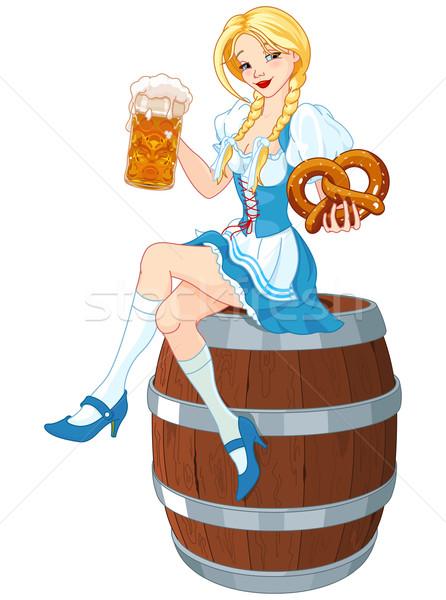 Oktoberfest Girl on the Keg Stock photo © Dazdraperma