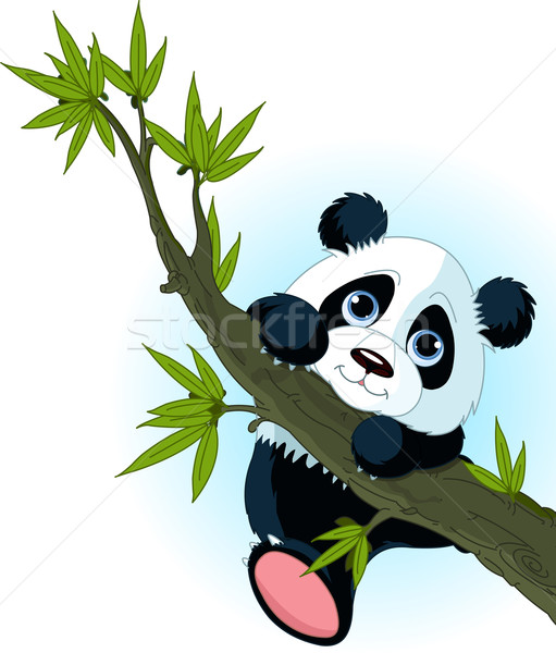 Géant panda escalade arbre cute sourire Photo stock © Dazdraperma
