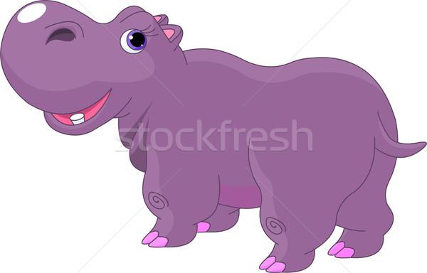 Cartoon Hippo Stock photo © Dazdraperma