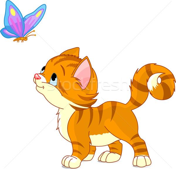 Kitten naar vlinder mooie kunst dier Stockfoto © Dazdraperma